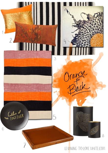 Orange and black home decor ideas