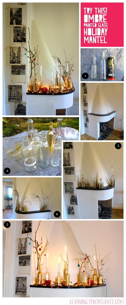 DIY Mantel_learning to love white_holiday Mantel_christmas decor_DIY painted glass_interior design blog