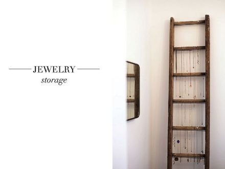 DIY ladder Jewelery storage_learning to love white_DIY jewelery holder_interior design blog