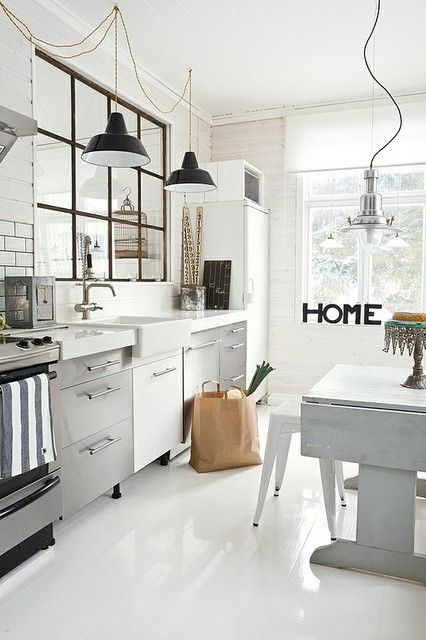 Industrial Windows | Learning to Love White | Kitchen