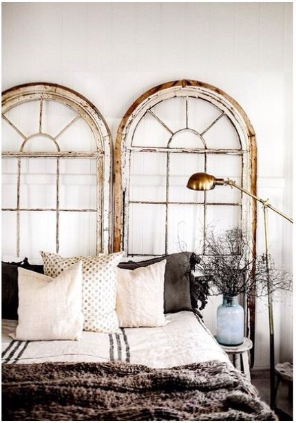 Industrial Windows | Learning to Love White | Old Window Head Board